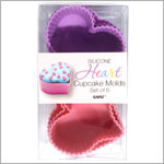 Ganz Silicone PURPLE/PINK HEART Cupcake Molds *Set of 6*