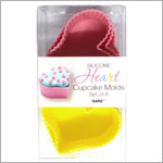 Ganz Silicone PINK/YELLOW HEART Cupcake Molds *Set of 6*