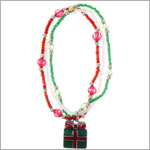 Ganz Red/Green/White 3 Strand Beaded Christmas Present Bracelet