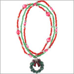 Ganz Red/Green 3 Strand Beaded Christmas Wreath Bracelet