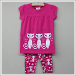 GT Fuchsia 3 Kitties Tunic & Kitty Print Capri Set