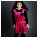 Greggy Girl Pink Velour Swing Top & Black Velour Legging Set