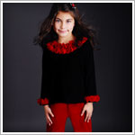 Greggy Girl Black Velour Top & Red Velour Pant Set