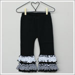 Happy Green Bee Black Calypso Pants with Black/White Ruffles