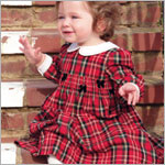 Hartstrings Red Plaid Woven Dress w/ Collar and Bows