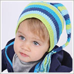 Z: Huggalugs Hat - Blue Stripe Stocking Cap