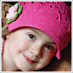 Z: Huggalugs Hat - Crocheted Bubblegum Newsboy