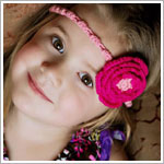 Z: Huggalugs Headband - Crocheted Fuchia Rose on Pink