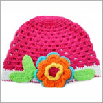 Z: Huggalugs Hat - Hot Pink Crocheted Hat w/ Flower