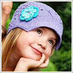 Z: Huggalugs Hat - Lilac Crocheted Newsboy