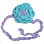 Z: Huggalugs Headband - Crocheted Lilac w/ Turquoise Flower
