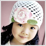 Z: Huggalugs Hat - White Crocheted Cloche