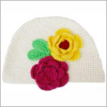 Z: Huggalugs Hat - White Crochet Hat w/ Fuchsia & Yellow Flowers