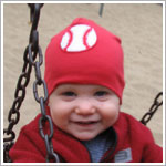 Z: Red W/ Felt Baseball Beanie Hat
