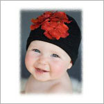 Z: Black & Red Hydrangea Beanie Hat