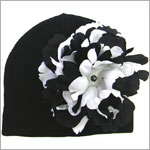 Z: Black Beanie Hat with Black/White Peony