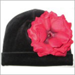 Z: Black Velvet Large Rose Hat *Many Rose Colors!*