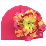 Z: Raspberry Beanie Hat with Orange/Raspberry Peony