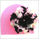 Z: Candy Pink Beanie Hat with Black/Pink Peony