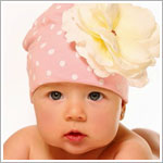 Z: Pale Pink Dots-White Rose Beanie