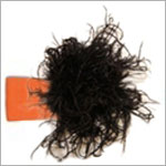 Z: Orange w/ Black Curly Marabou Headband