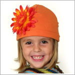 Z: Orange Daisy Beanie Hat