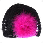 Z: Crochet Black Marabou Hat *Many Colors!*