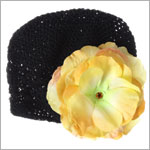 Z: Crochet Black Large Rose Hat *Many Rose Colors!*