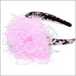 Z: Pink/Black Leopard Print Candy Pink Curly Marabou Hard Headband