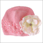 Z: Crochet Candy Pink Small Rose Hat *Many Rose Colors!*