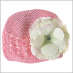 Z: Crochet Candy Pink Large Rose Hat *Many Rose Colors!*