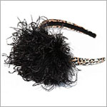 Z: Tan/Black Leopard Print Black Curly Marabou Hard Headband
