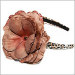 Z: Tan/Black Leopard Print Brown Rose Hard Headband