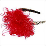 Z: Tan/Black Leopard Print Red Curly Marabou Hard Headband