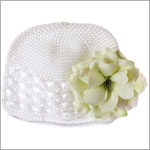 Z: Crochet White Small Rose Hat *Many Rose Colors!*