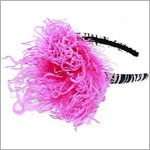 Z: Zebra Print Hot Pink Curly Marabou Hard Headband