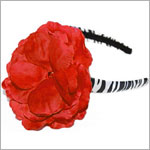 Z: Zebra Print Red Rose Hard Headband