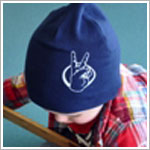 Z: Navy Peace Fingers Screen Print Beanie