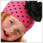 Z: Candy Pink Black Dots-Black Rose Beanie