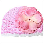 Z: Pink Scallop Crochet Hat w/ Candy Pink Rose