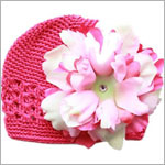 Z: Crochet Raspberry w/ Power of Pink Peony Hat *Breast Cancer Awareness*