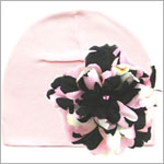 Z: Pale Pink Beanie Hat with Black/Pink Peony