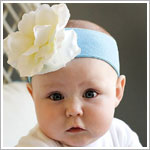 Z: Teal w/ White Rose Headband