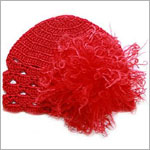 Z: Red Scallop Crochet Hat w/ Red Curly Marabou