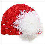 Z: Red Scallop Crochet Hat w/ White Curly Marabou