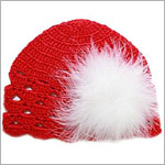 Z: Red Scallop Crochet Hat w/ White Regular Marabou