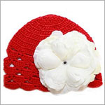 Z: Red Scallop Crochet Hat w/ White Rose