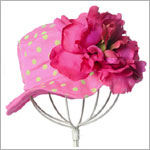 Z: Candy Pink Peony Sun Hat W/ Lime Dots