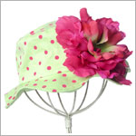 Z: Lime Sun Hat W/ Raspberry Dots