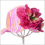 Z: Candy Pink Striped Pink Peony Sun Hat